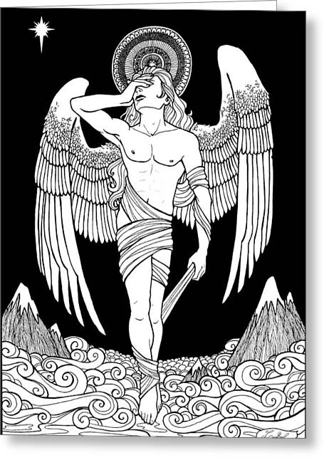 Ink Drawings Greeting Cards - Grieving Angel Greeting Card by Caroline Jamhour