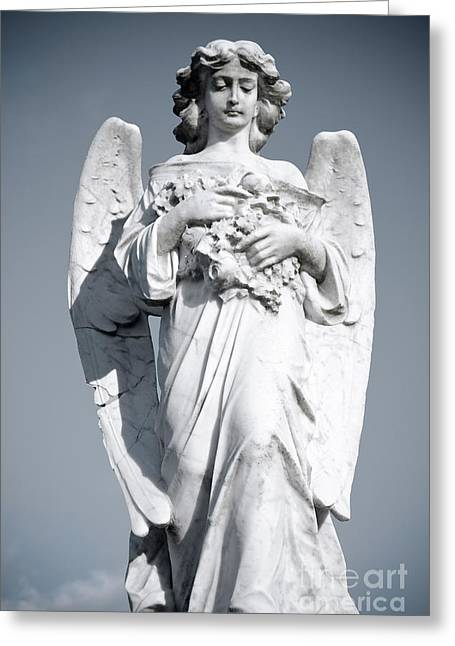 Sorrow Sculptures Greeting Cards - Grieving Angel on the old graveyard Greeting Card by Yurix Sardinelly