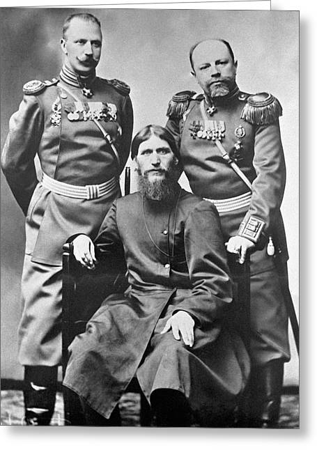 1910s Portrait Greeting Cards - Grigori Rasputin With Russian Soldiers Greeting Card by Ria Novosti