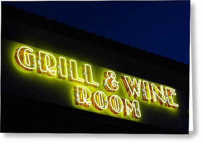 Grill and Wine Greeting Card by Christopher Kerby