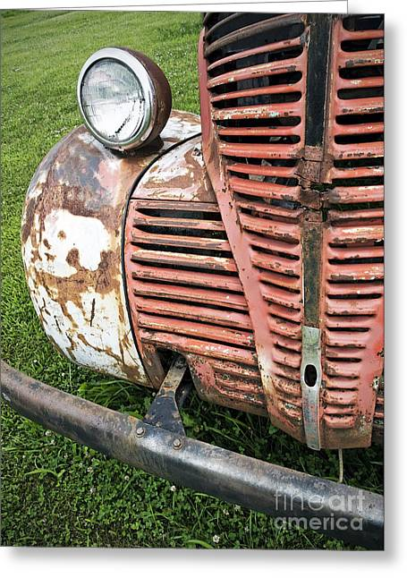 Rusted Cars Paintings Greeting Cards - Grilled Greeting Card by Glennis Siverson