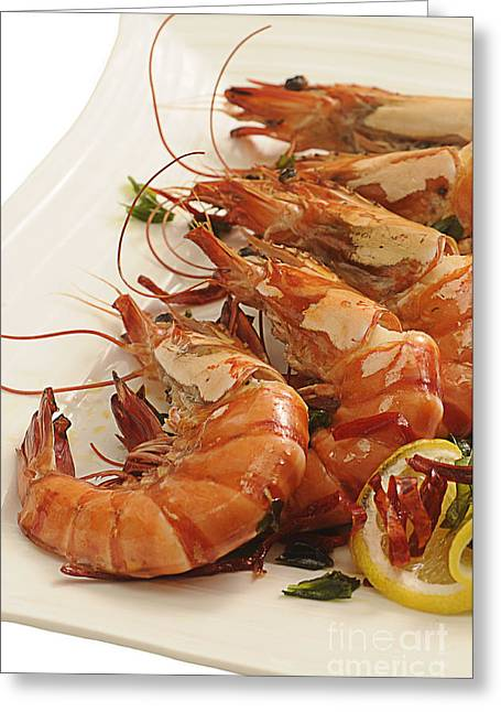 Prawns Greeting Cards - Grilled Prawns Greeting Card by Charuhas Images