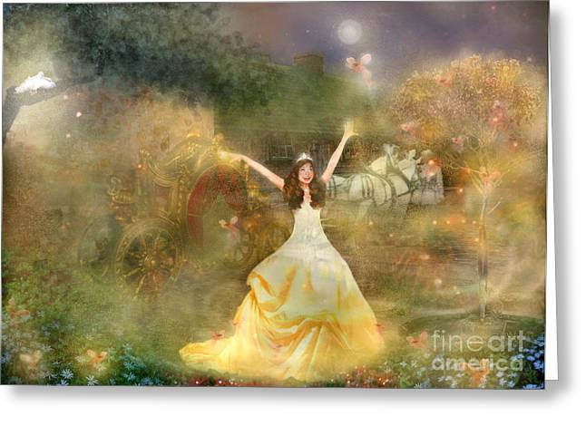 Girl In Dress Greeting Cards - Grimms Fairie Cinderella  Greeting Card by Carrie Jackson
