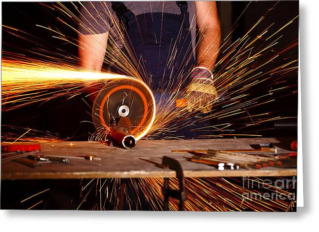 Grinder In Action Greeting Card by Gualtiero Boffi