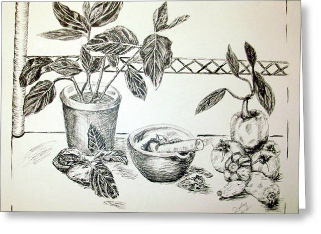 Pestal Greeting Cards - Grinding Herbs Greeting Card by Shelley Bain