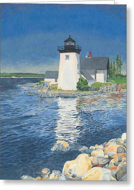 Ocean Landscape Greeting Cards - Grindle Point Light Greeting Card by Dominic White