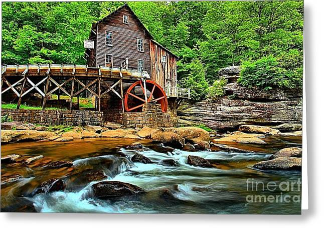 Babcock Greeting Cards - Grist Mill At Babcock Greeting Card by Adam Jewell