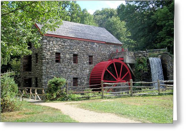 Wayside Inn Grist Mill Greeting Cards - Grist Mill  Massachusetts Greeting Card by Patricia Urato