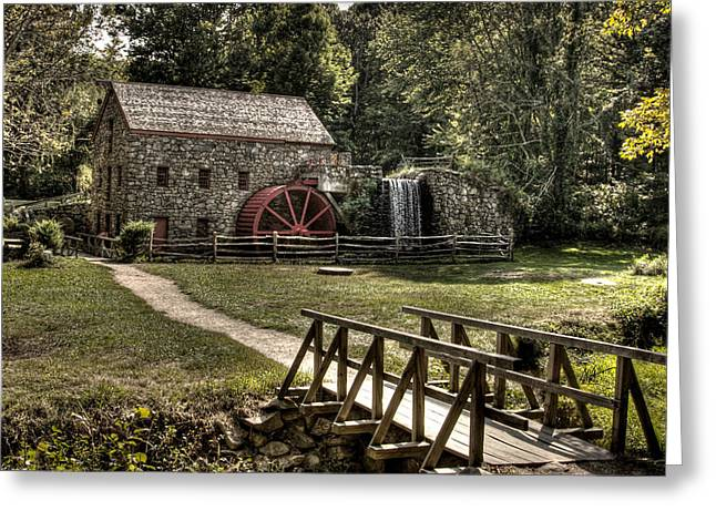 Sudbury River. Greeting Cards - Grist Mill Sudbury Massachusetts Greeting Card by Mark Valentine