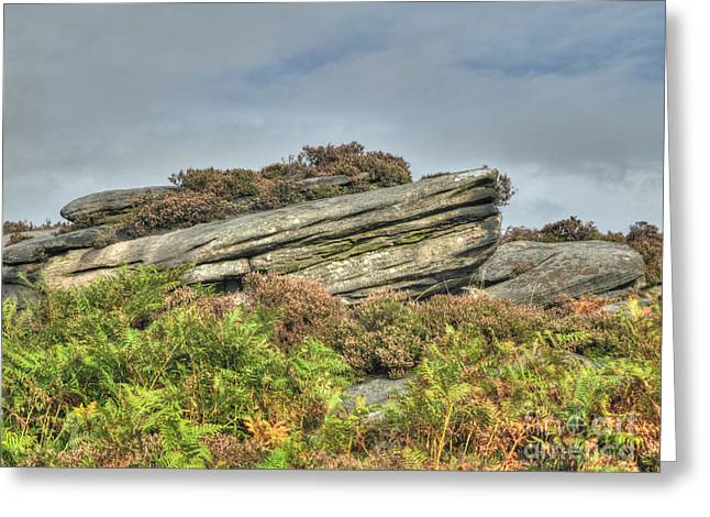 Www.picsl8.co.uk Greeting Cards - Gritstone outcrop - colour Greeting Card by Steev Stamford