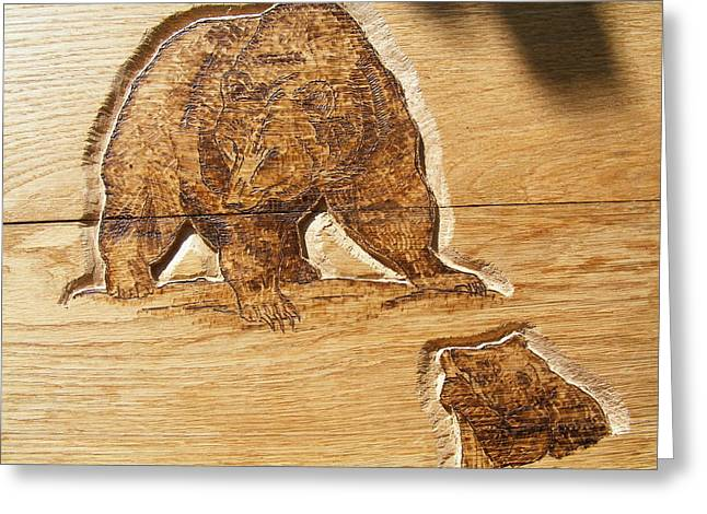 Cabin Wall Pyrography Greeting Cards - Grizzly bear-1-wood carving pyrography Greeting Card by Egri George-Christian