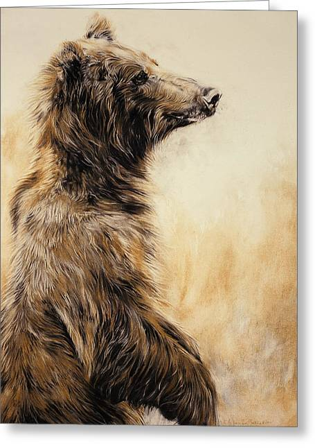 Wild Animals Greeting Cards - Grizzly Bear 2 Greeting Card by Odile Kidd