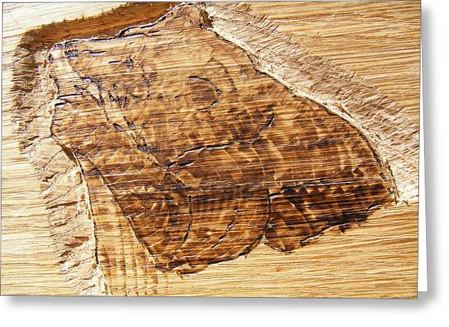 Log Pyrography Greeting Cards - Grizzly bear fishing-wood carving pyrography Greeting Card by Egri George-Christian