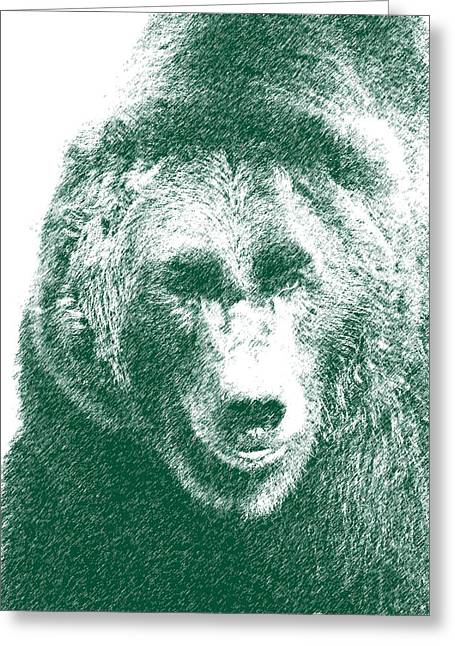 Pen And Ink Drawing Photographs Greeting Cards - Grizzly bear Sketch Greeting Card by Steve McKinzie