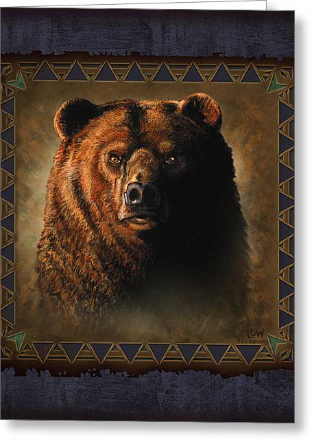 Hunting Cabin Greeting Cards - Grizzly Lodge Greeting Card by JQ Licensing