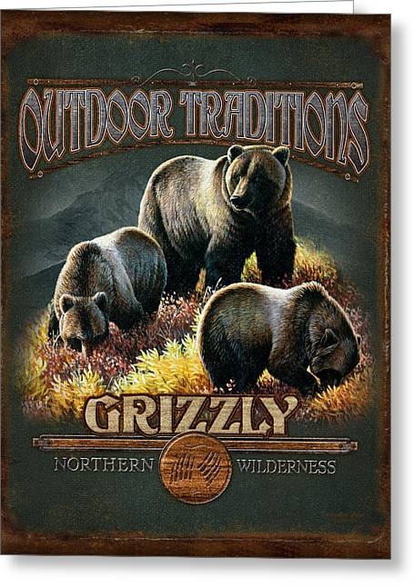 Big Game Greeting Cards - Grizzly Traditions Greeting Card by JQ Licensing
