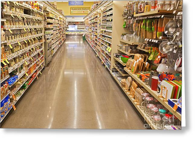 Grocery Store Greeting Cards - Grocery Store Aisle Greeting Card by David Buffington