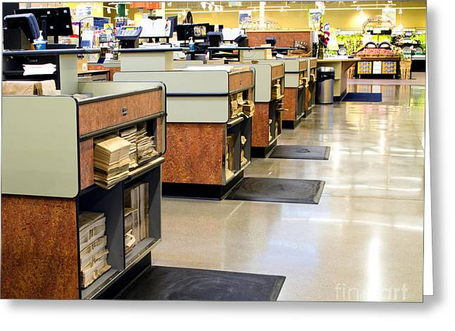 Grocery Store Greeting Cards - Grocery Store Checkout Counters Greeting Card by David Buffington