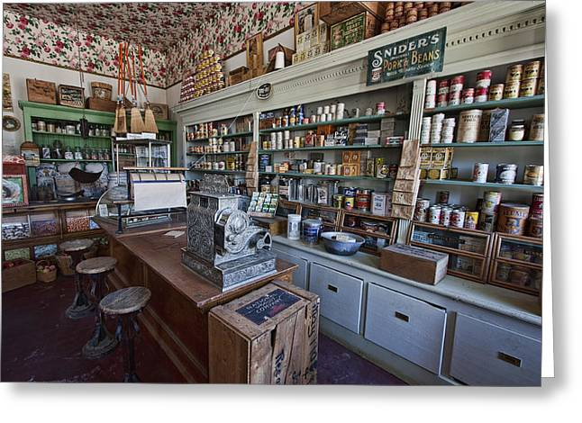 Canned Goods Greeting Cards - GROCERY STORE of YESTERYEAR - VIRGINIA CITY MONTANA GHOST TOWN Greeting Card by Daniel Hagerman