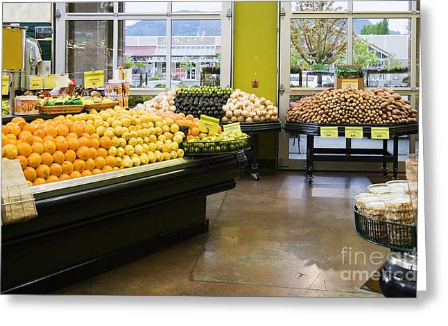 Grocery Store Greeting Cards - Grocery Store Produce Section Greeting Card by Andersen Ross