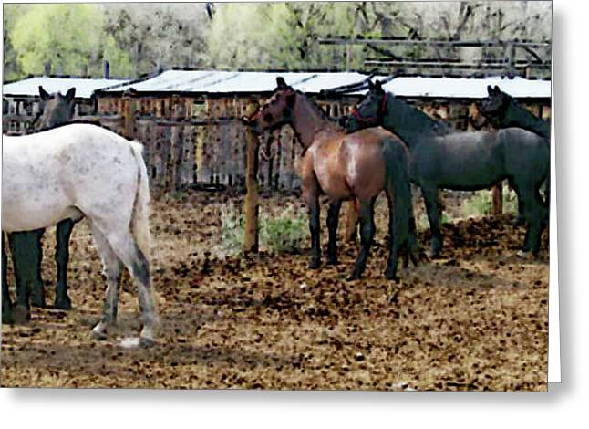 Expressionist Equine Greeting Cards - Grooming the Horses Greeting Card by Lenore Senior and Juel Trask