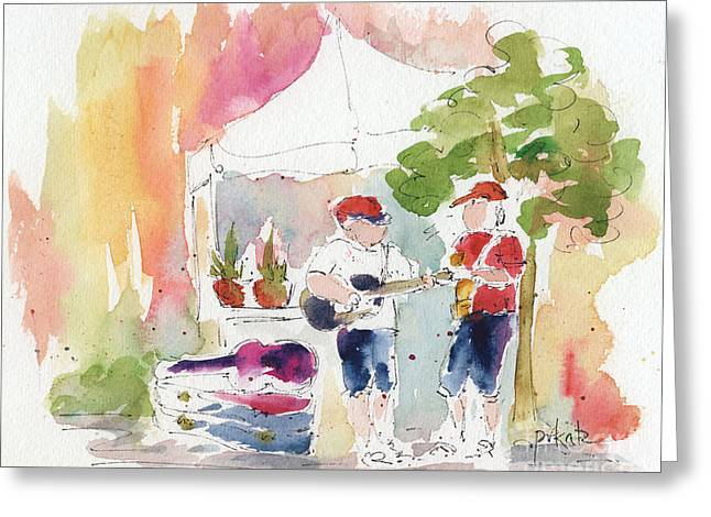 Pause Paintings Greeting Cards - Groovin At The Market Greeting Card by Pat Katz