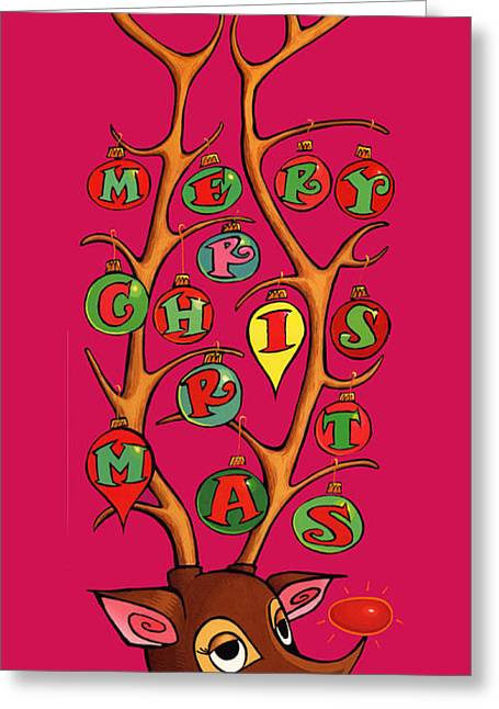 Rudolph Mixed Media Greeting Cards - Groovy Rudolph Greeting Card by Steven Stines