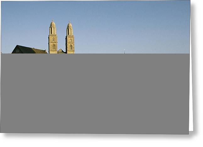 River Of Life Greeting Cards - Grossmunster Cathedral And The Limmat Greeting Card by David Pluth