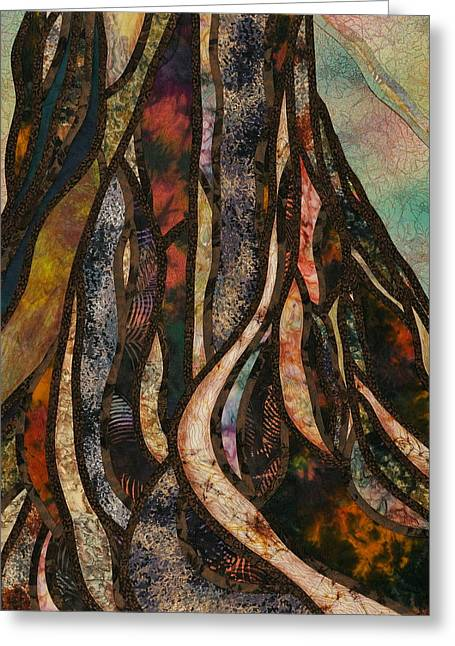 Earth Tapestries - Textiles Greeting Cards - Grounded Greeting Card by Doria Goocher