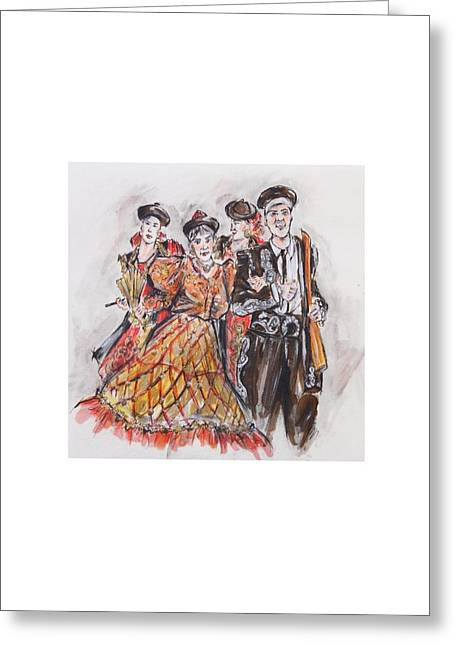 Procession Framed Prints Greeting Cards - Group of Bandoleros or Grupo de Bandoleros  Greeting Card by Jill Bennett