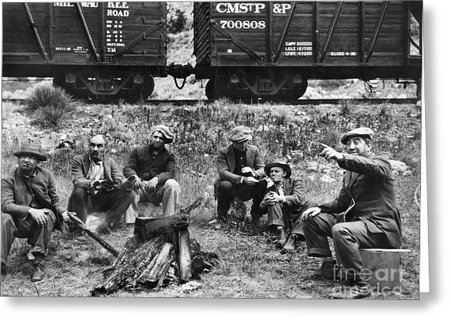 Boxcars Greeting Cards - GROUP OF HOBOES, 1920s Greeting Card by Granger