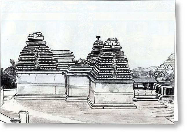 Shashi Kumar Greeting Cards - Group of Jain Temples Hampi Greeting Card by Shashi Kumar