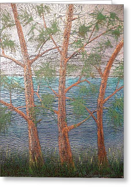 Ocean Landscape Glass Art Greeting Cards - Group of Three Greeting Card by Rick Silas