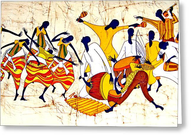 Dancer Tapestries - Textiles Greeting Cards - Grouped Kiganda Dancers Greeting Card by Joseph Kalinda