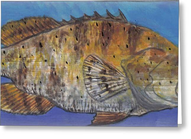 Water Grouper Print Greeting Cards - Grouper Greeting Card by Edward Walsh