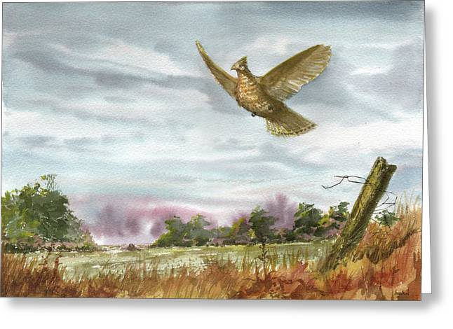 Old Fence Post Greeting Cards - Grouse Post Greeting Card by Sean Seal