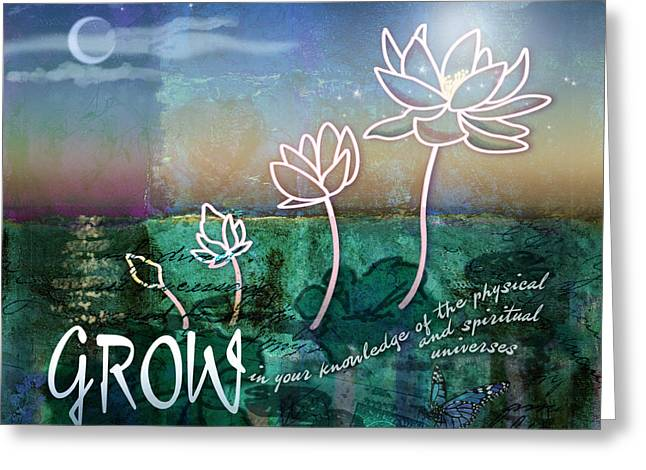 Lotus Bud Greeting Cards - Grow Greeting Card by Evie Cook