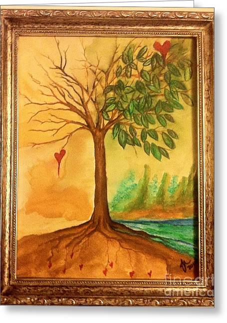 Tree Roots Paintings Greeting Cards - Growing In Love Greeting Card by Gina Hyatt