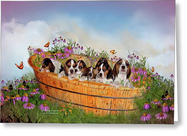 Doggie Art Greeting Cards - Growing Puppies Greeting Card by Carol Cavalaris