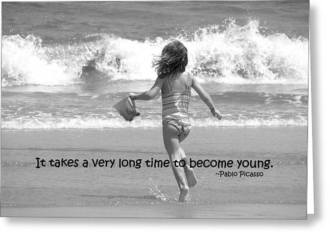 Pablo Picasso Quote Greeting Cards - GROWING YOUNG quote Greeting Card by JAMART Photography