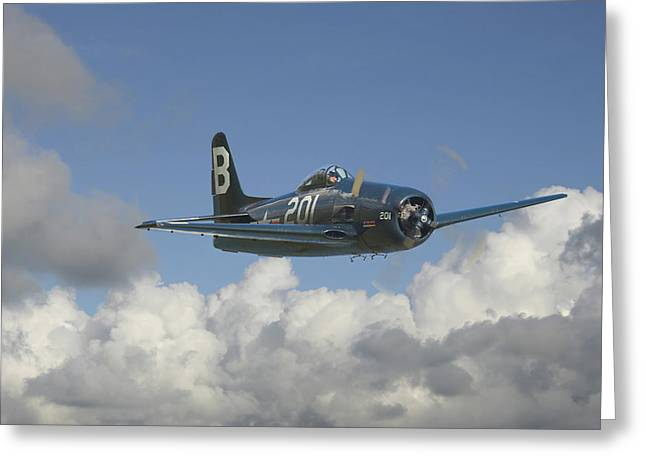 Military Airplane Greeting Cards - Grumman Bearcat Greeting Card by Pat Speirs