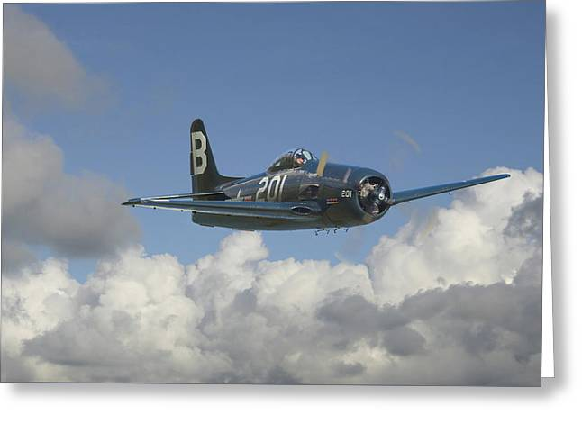 Military Airplanes Greeting Cards - Grumman Bearcat Greeting Card by Pat Speirs