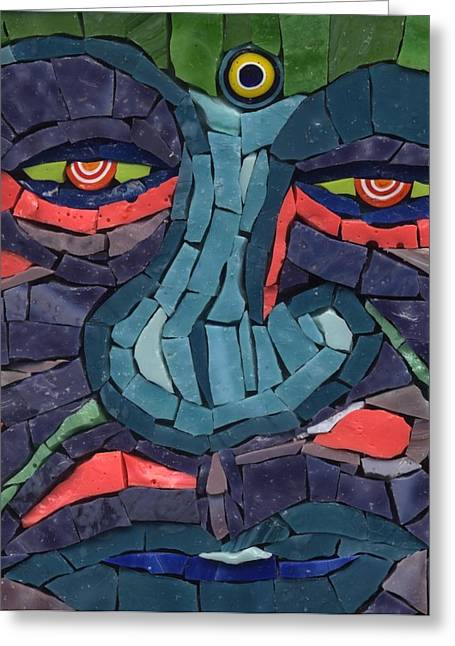 Detail Glass Art Greeting Cards - Grumpy - Fantasy Face No.11 Greeting Card by Gila Rayberg