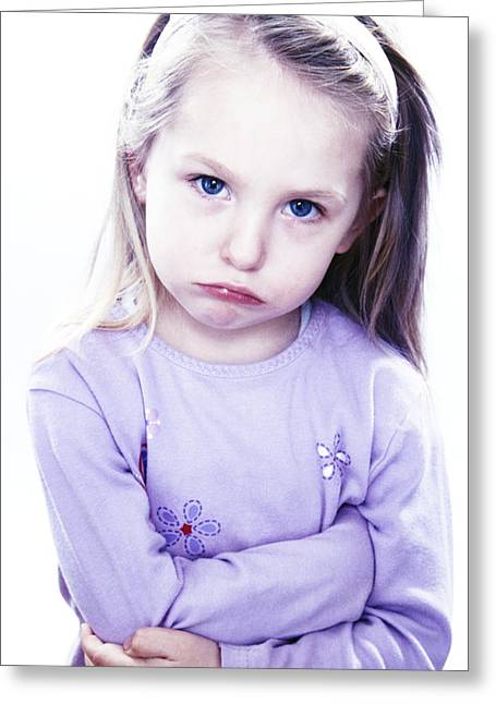 Grumpy Face Greeting Cards - Grumpy Girl Greeting Card by Kevin Curtis