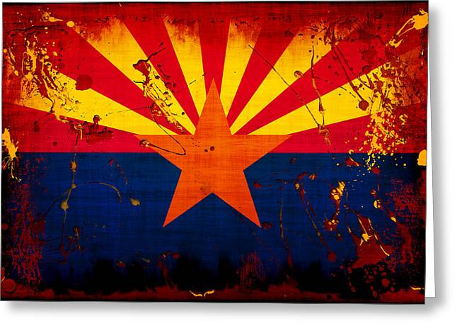 Flags Digital Art Greeting Cards - Grunge and Splatter Arizona Flag Greeting Card by David G Paul