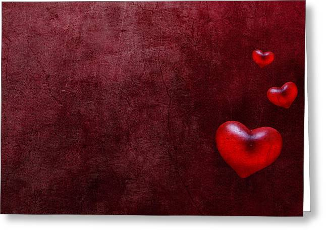 Grunge Hearts Greeting Card by Laura Melis