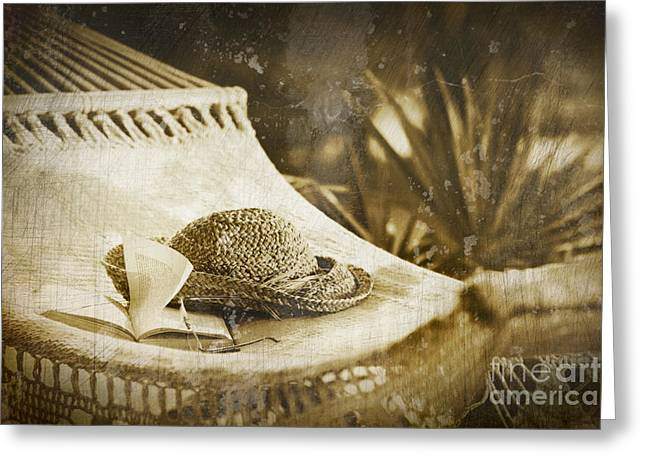 Grunge photo of hammock and book Greeting Card by Sandra Cunningham