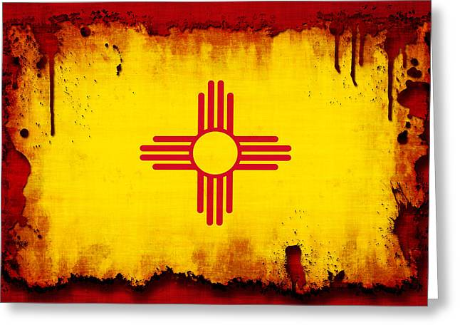 Splatter Paint Greeting Cards - Grunge Style New Mexico Flag Greeting Card by David G Paul