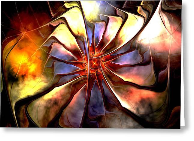 Floral Digital Art Greeting Cards - Grungy Bloom Greeting Card by Amanda Moore