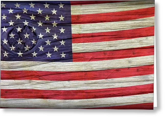 Flag Of Usa Greeting Cards - Grungy Textured USA Flag Greeting Card by John Stephens